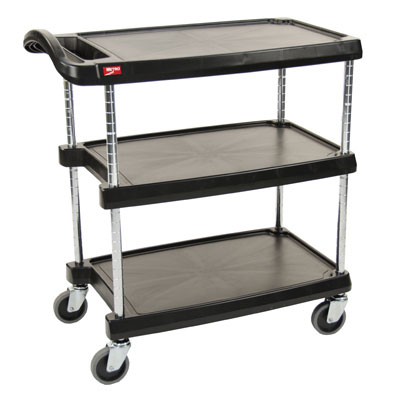 Metro MY1627-34BL 3-Level Polymer Utility Cart w/ 400-lb Capacity, Marine Ledges