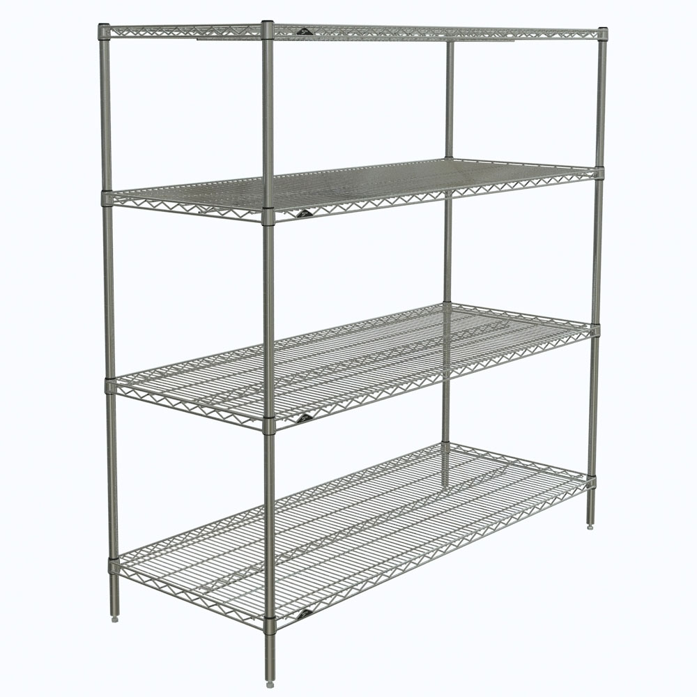"Metro N566C Super Erecta® Chrome Wire Shelving Unit w/ (4) Levels, 60"" x 24"" x 63"""