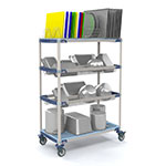 Metro PR48VX3 4-Tier Mobile Drying Rack w/ 2-Drop-Ins & Cutting Board, 26x50x68""