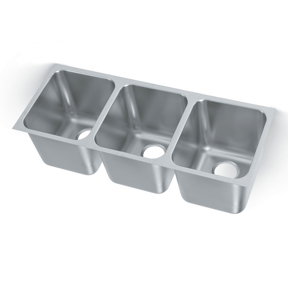 Polar Ware 12123-1R 3-Compartment Heavy Duty Stainless Drop-In Sink w/ Round Corners