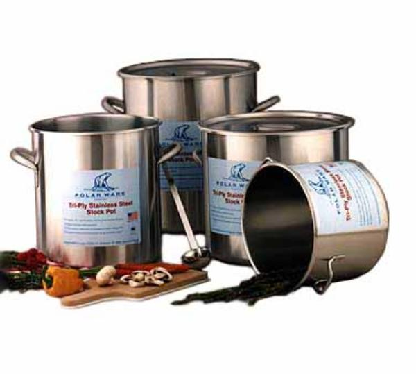 Polar Ware 163 Try-Ply Stock Pot w/o Cover, 16 Qt., Stainless Steel, NSF