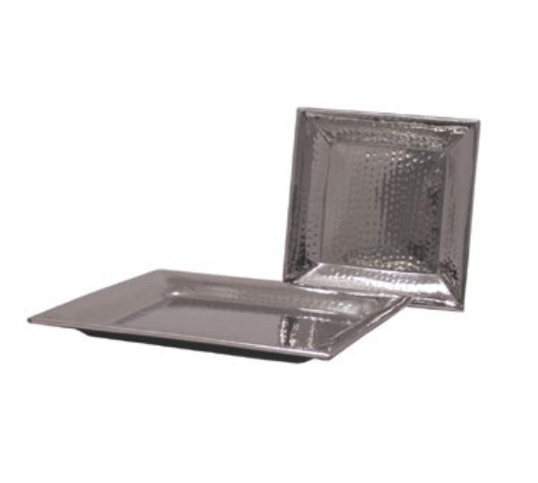 Polar Ware T8971A 11-1/4 in Square Hammered Tray, Stainless Steel