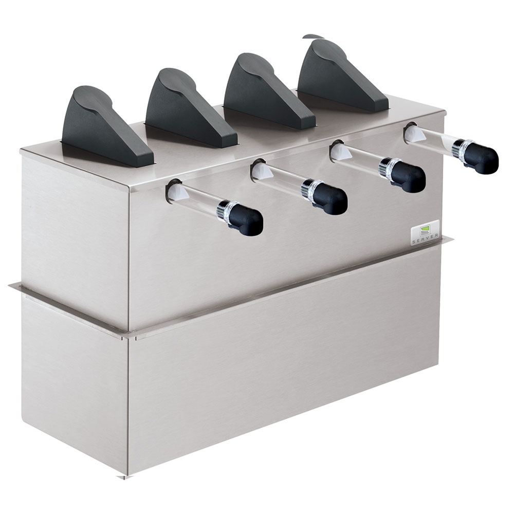 Server Products 07210 Drop In 4-Pump Dispenser For 4-Pouches, Stainless Base