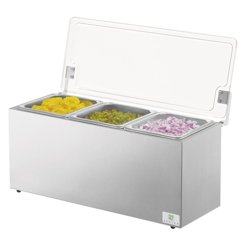 Server Products 67080 Insulated Server - Acrylic Hinged Lid, Self Close Operation, Stainless Steel