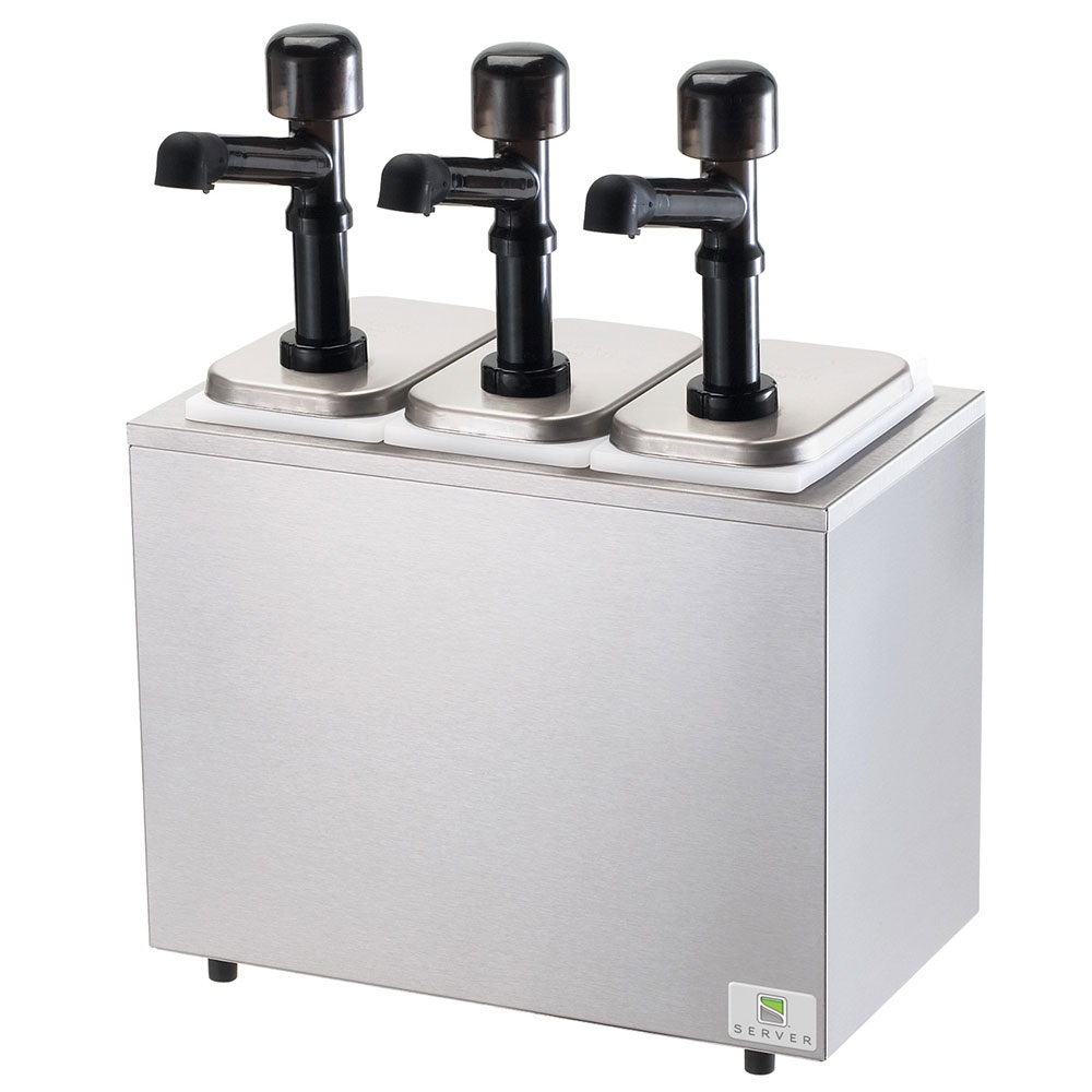 Server 79810 Pump Style Condiment Dispenser w/ (3) 1-oz/S...