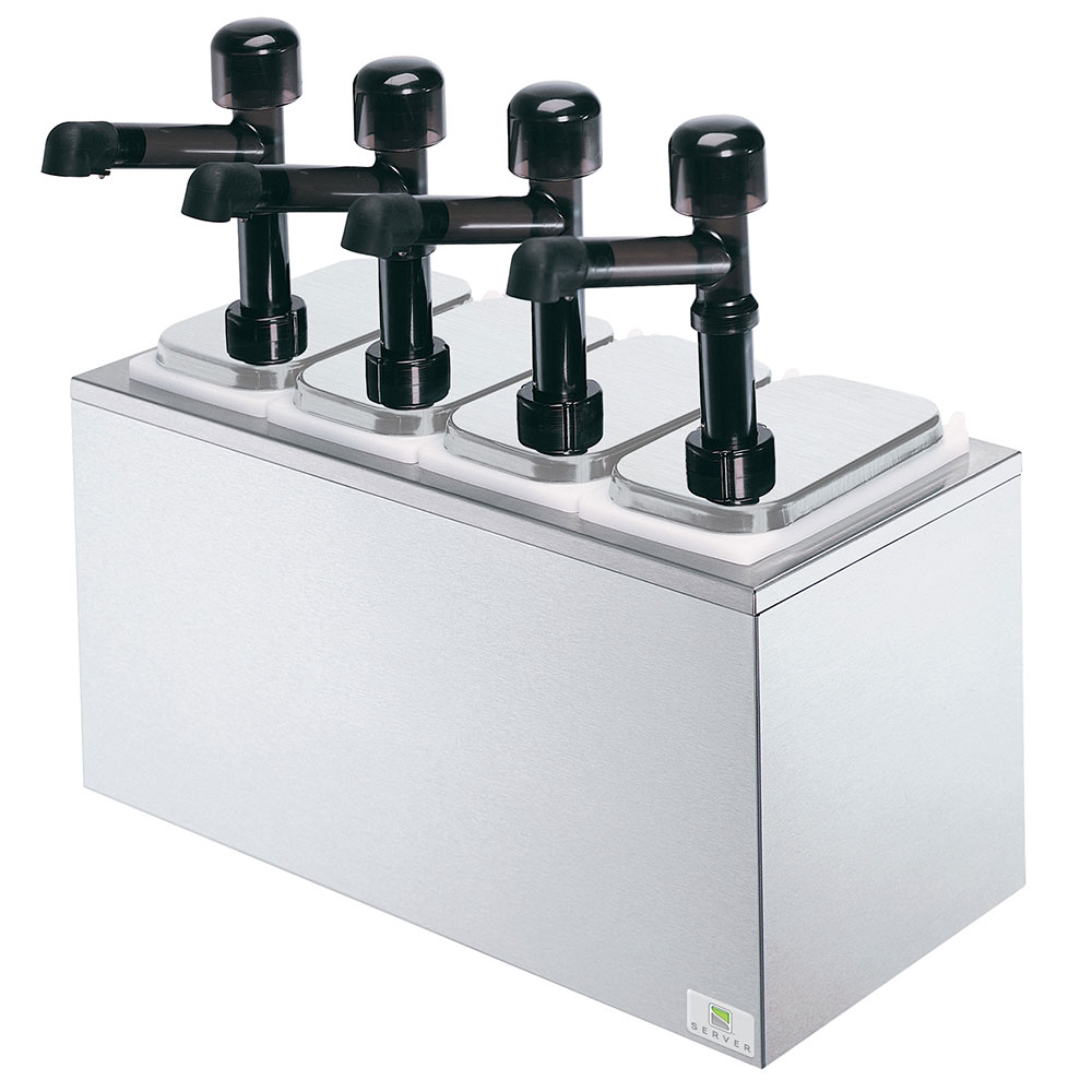 Server 79830 Pump Style Condiment Dispenser w/ (4) 1-oz/Stroke, Stainless