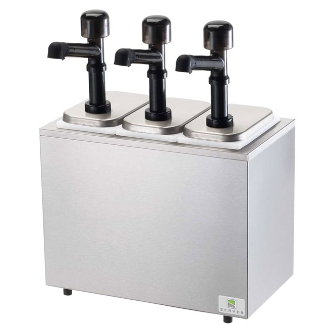 Server 79860 Pump Style Condiment Dispenser w/ (3) 1-oz/Stroke, Stainless