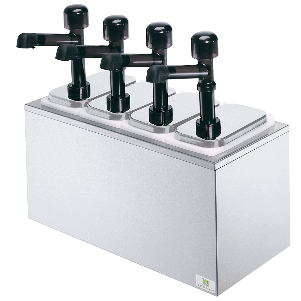 Server 79870 Pump Style Condiment Dispenser w/ (4) 1-oz/Stroke, Stainless