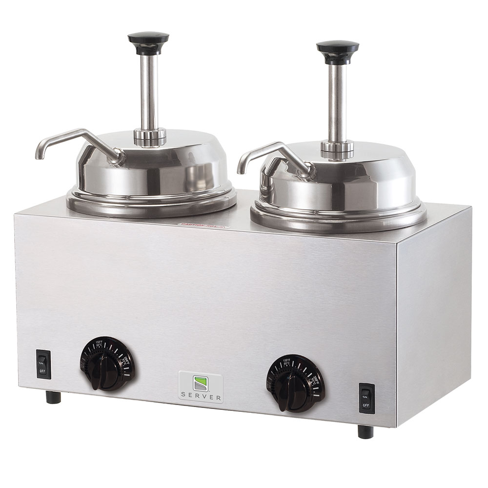 Server 81230 Twin Fudge Server, Pumps, SS, Use #10 Can or 3 qt Jar, 120 V