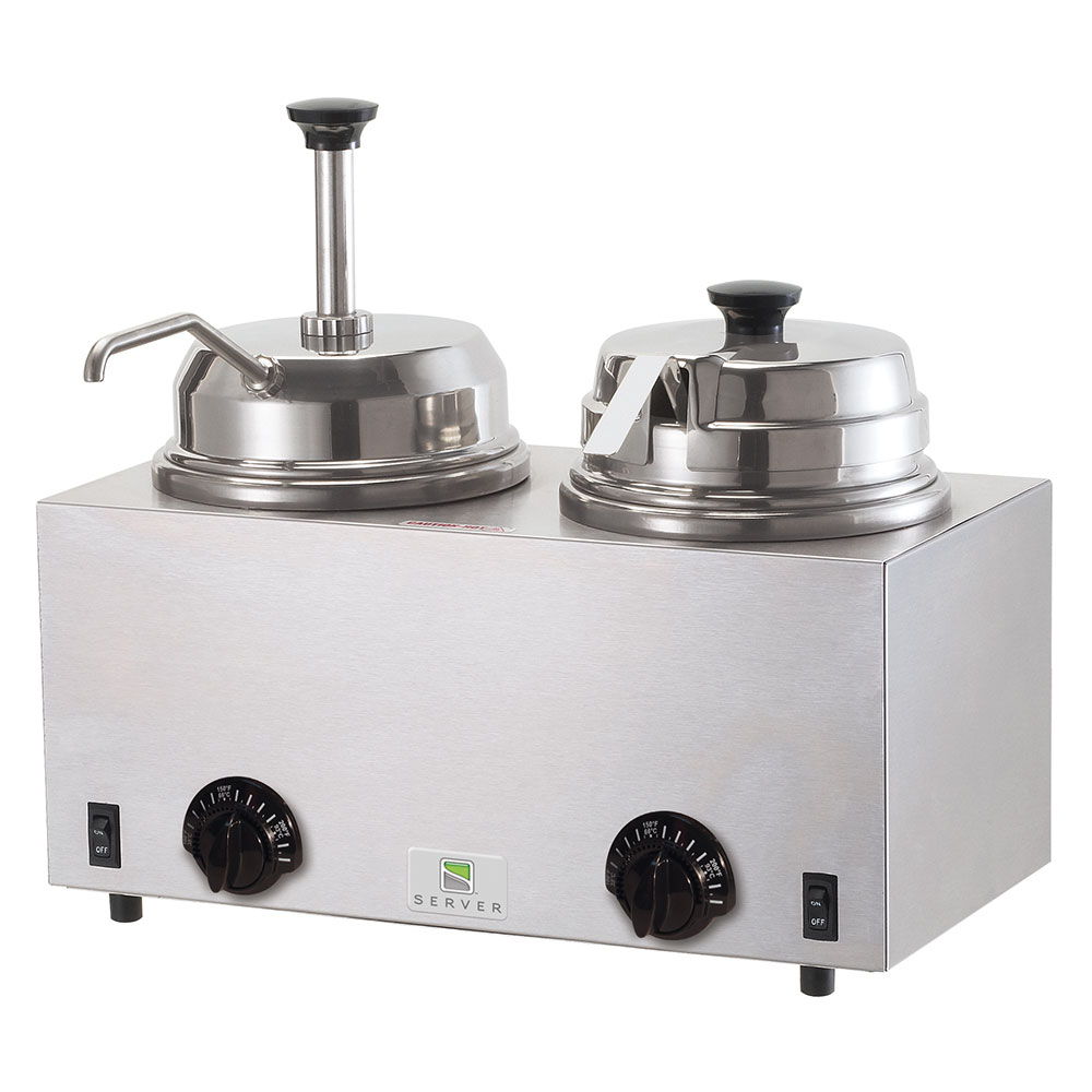Server Products 81290 Twin Fudge Server, Pump & Ladle, SS, Use #10 Can or 3 qt Jar, 120 V