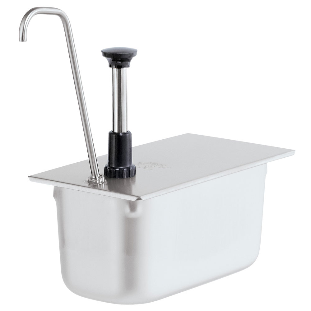 Server Products 83441 Condiment Pump, Tall, SS, Uses 1/3 Steam Pan 6 in Deep