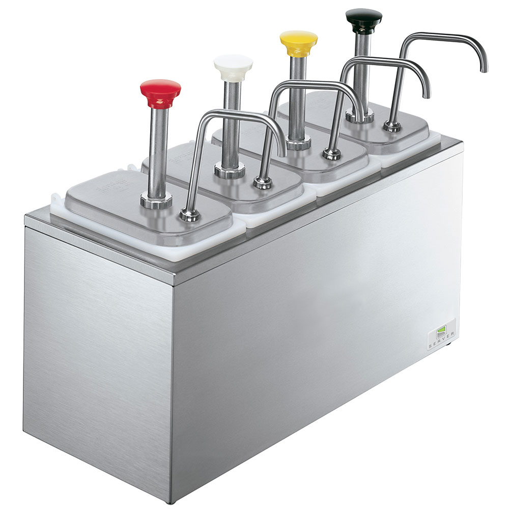 Server 83700 Pump Style Condiment Dispenser w/ (4) 1.25-oz/Stroke, Stainless