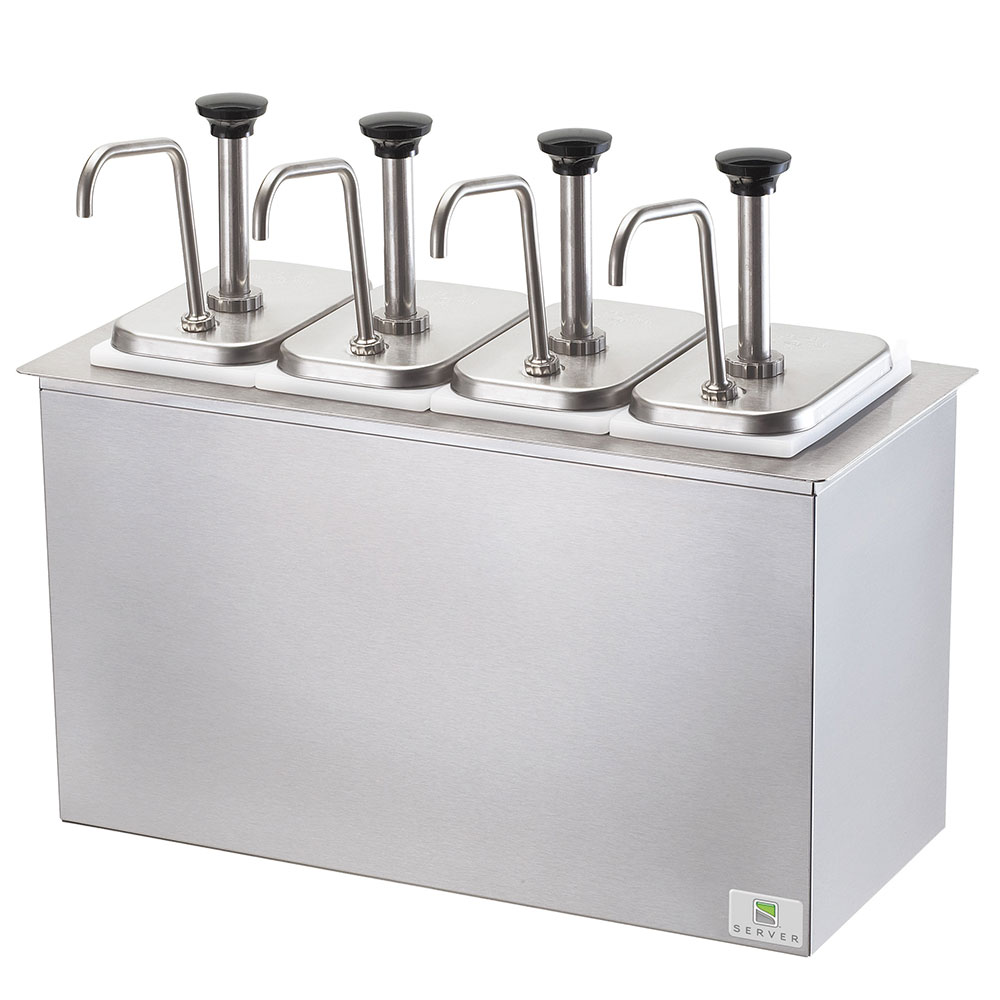 Server 83720 Pump Style Condiment Dispenser w/ (4) 1.25-o...