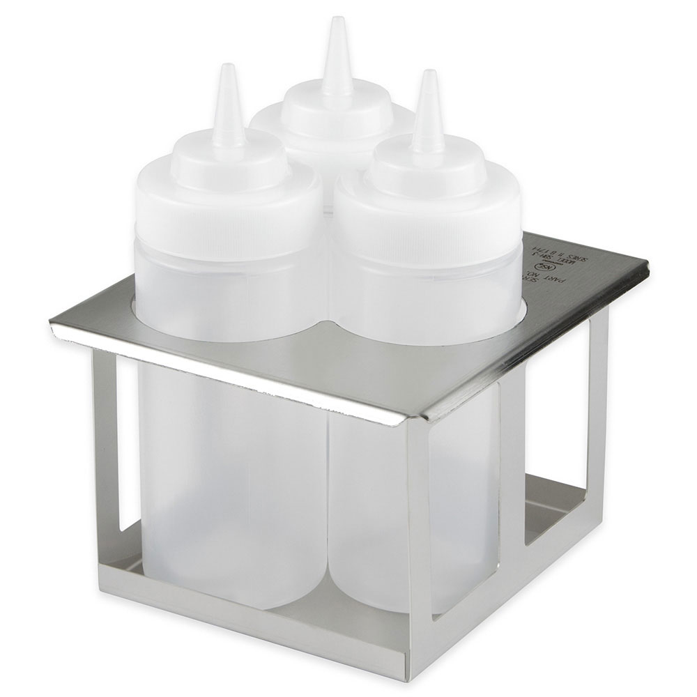 Server Products 86831 Squeeze Bottle Holder, Triple Unit w/ (3) 16 oz Bottles, SS