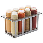 Server 86996 Squeeze Bottle Holder Set w/ 8-Bottles, Lids, Open Frame, Stainless