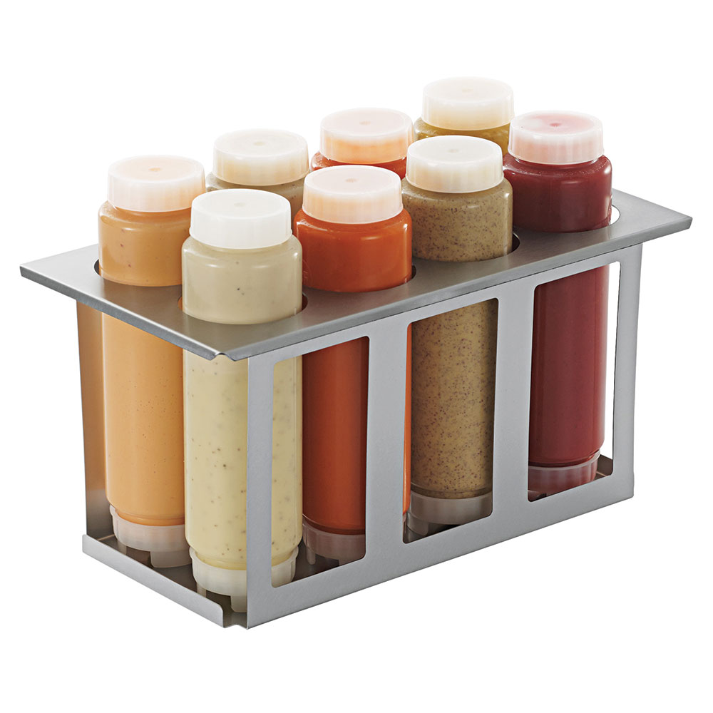 Server Products 86996 Squeeze Bottle Holder Set w/ 8-Bottles, Lids, Open Frame, Stainless