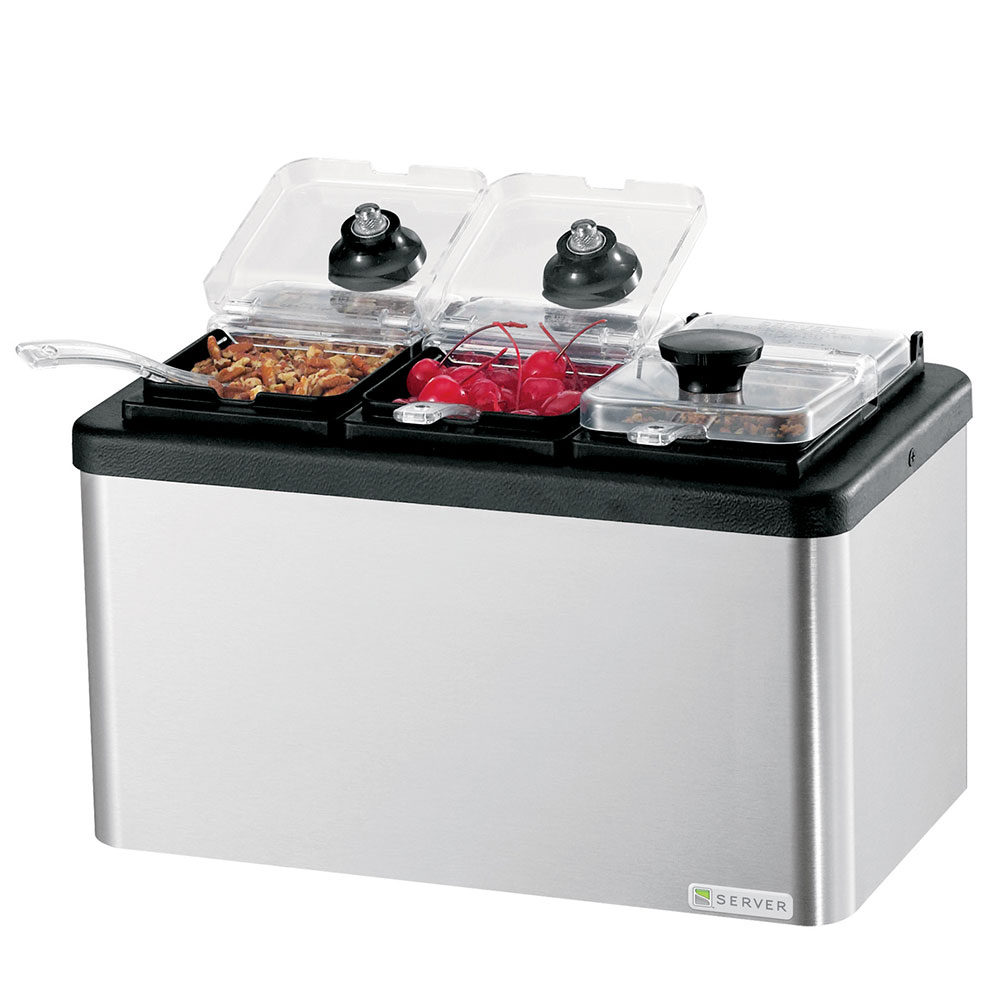 Server 87290 Insulated Mini Bar, (3) 1/9-Size Jars, Lids & Ladles, Stainless