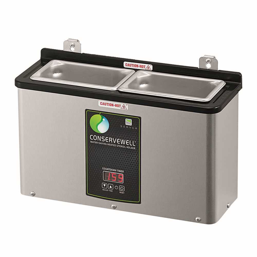 """Server 87750 15.25"""" 2-Compartment Heated Dipper Well w/ Countdown Timer, 120v"""