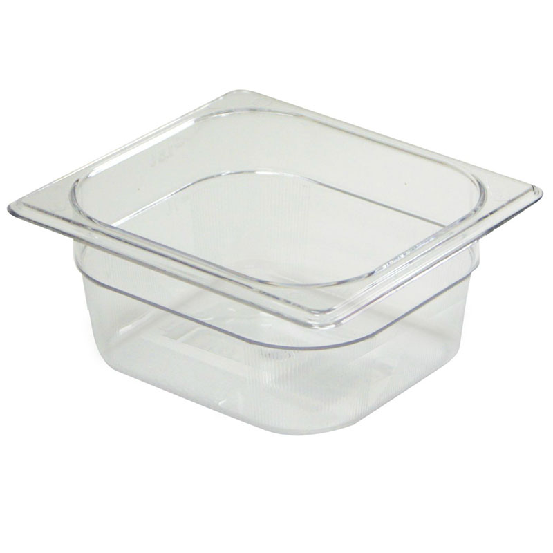 "Rubbermaid FG204P00AMBR Hot Food Pan - 1/6 Size, 2-1/2"" Deep, Poly, Amber"