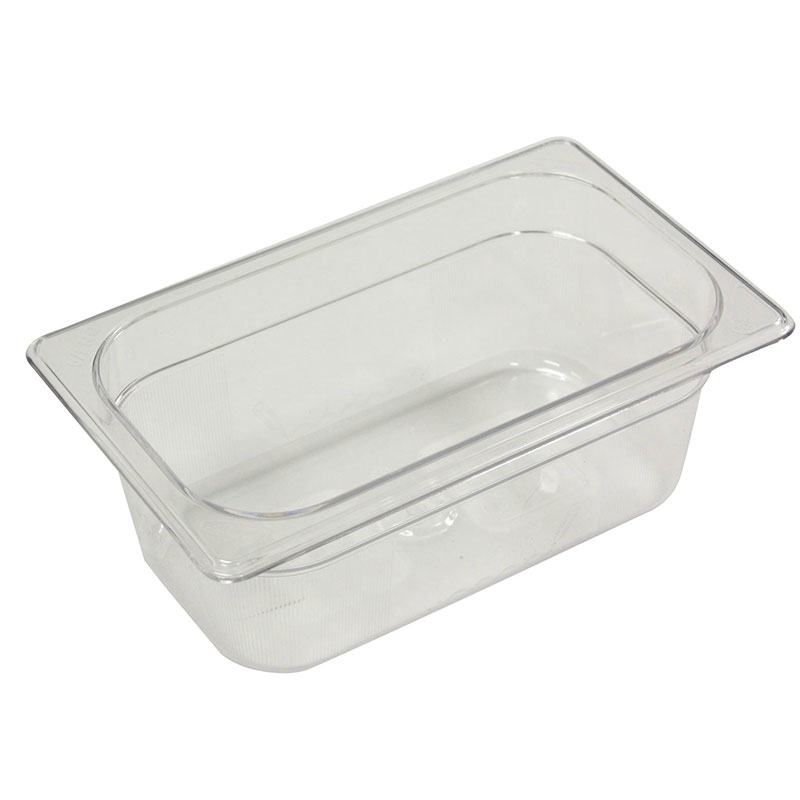 "Rubbermaid FG111P00CLR Cold Food Pan - 1/4 Size, 4"" Deep"