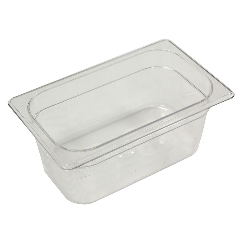 "Rubbermaid FG112P00CLR Cold Food Pan - 1/4 Size, 6"" Deep"