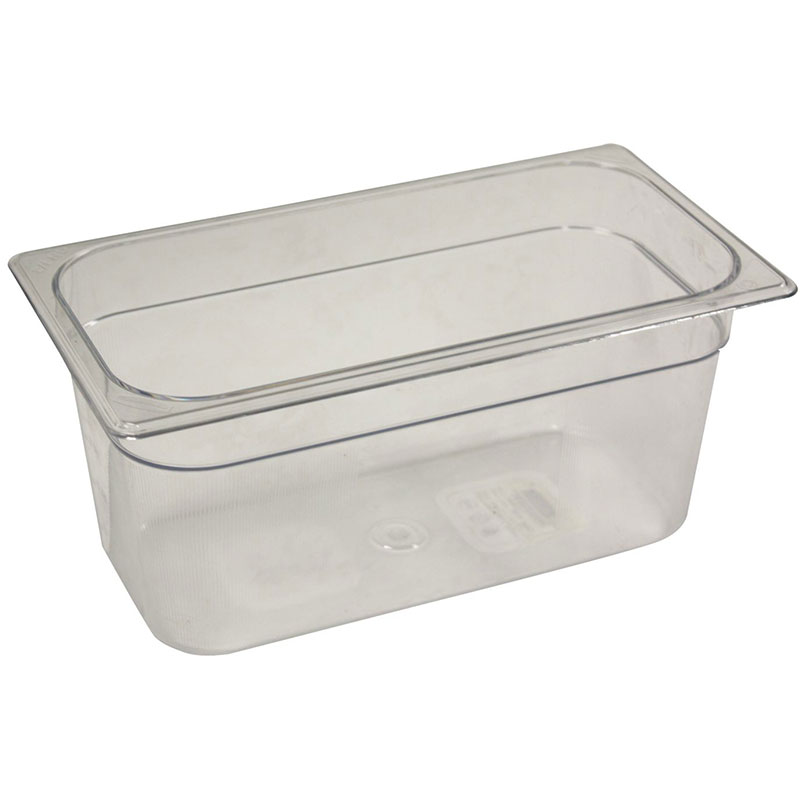 "Rubbermaid FG118P00CLR Cold Food Pan - 1/3 Size, 6"" Deep"
