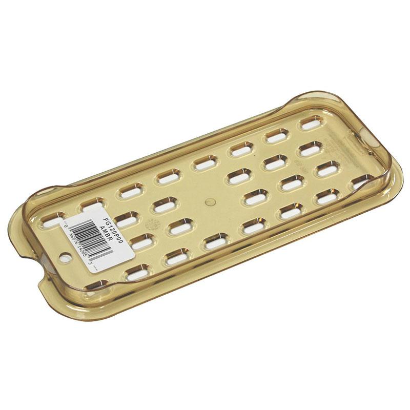 Rubbermaid FG120P00AMBR Hot Food Pan Drain Tray - 1/3 Size, Amber