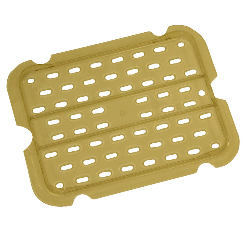 Rubbermaid FG127P00AMBR Hot Food Pan Drain Tray - Half Size, Amber