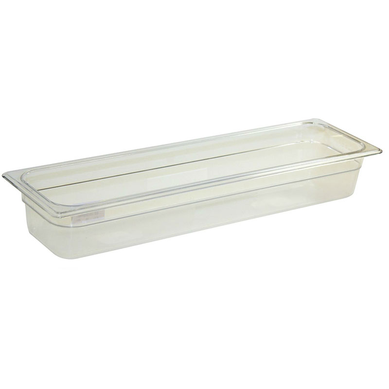 "Rubbermaid FG139P00CLR Cold Food Pan - Half Size Long, 2-1/2"" Deep, Clear Poly"