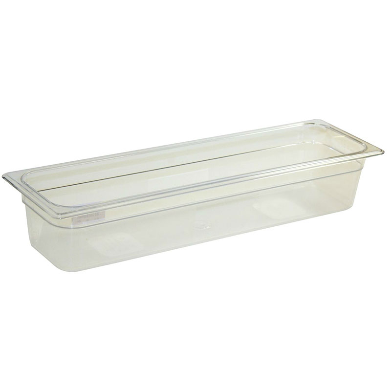 "Rubbermaid FG140P00CLR Cold Food Pan - Half Size Long, 4"" Deep, Clear Poly"