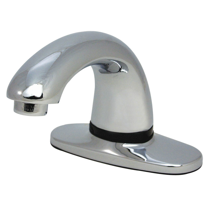 "Rubbermaid 1782744 Deck Mount Auto Faucet - 8"" Centers, Polished Chrome"