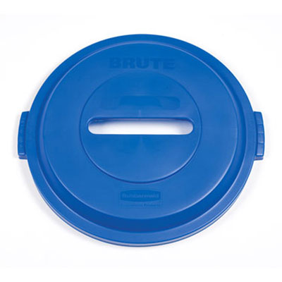 Rubbermaid 1788378 Round Recycling Trash Can Lid - Plastic, Blue