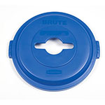 Rubbermaid 1788380 Round Recycling Trash Can Lid - Plastic, Blue