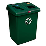 Rubbermaid 1792340 46-gal Glutton Recycling Station - 2-Stream, Hinged Lid, Green