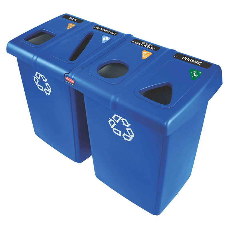 Rubbermaid 1792372 92-gal Glutton Recycling Station - (2)56-gal/(4)23-gal Containers, (8)Tops, Blue