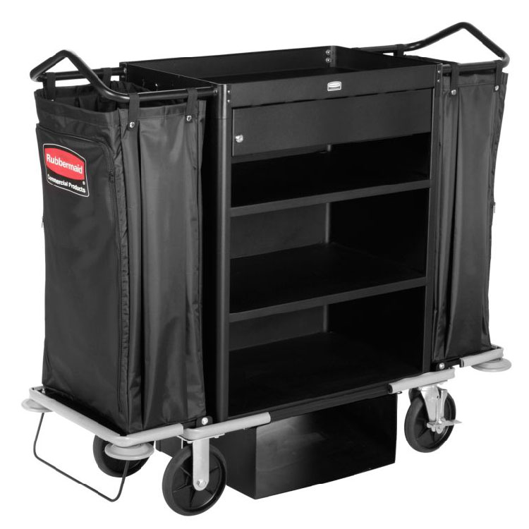 Rubbermaid 1805988 High-Capacity Housekeeping Cart - Locking Drawer, Black