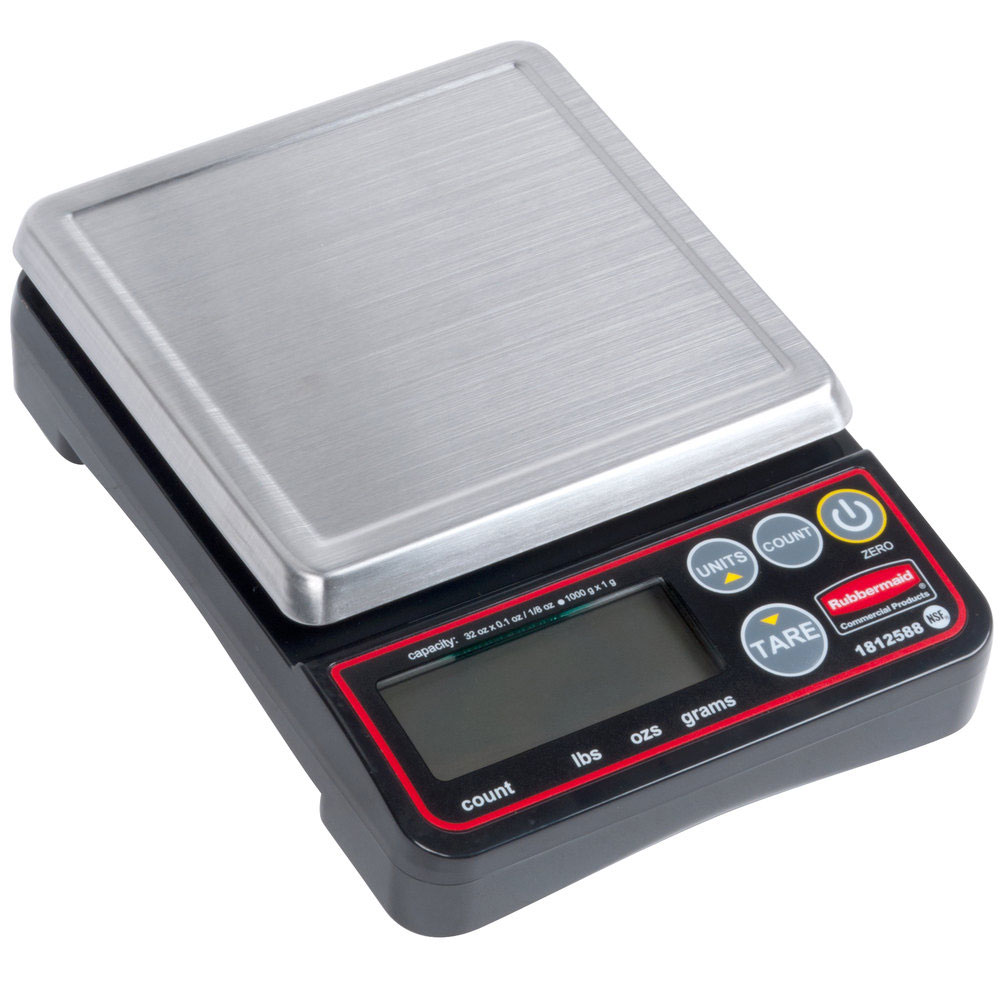 "Rubbermaid 1812588 2-lb Digital Portion Control Scale - 5.1"" x 5.1"", Stainless"