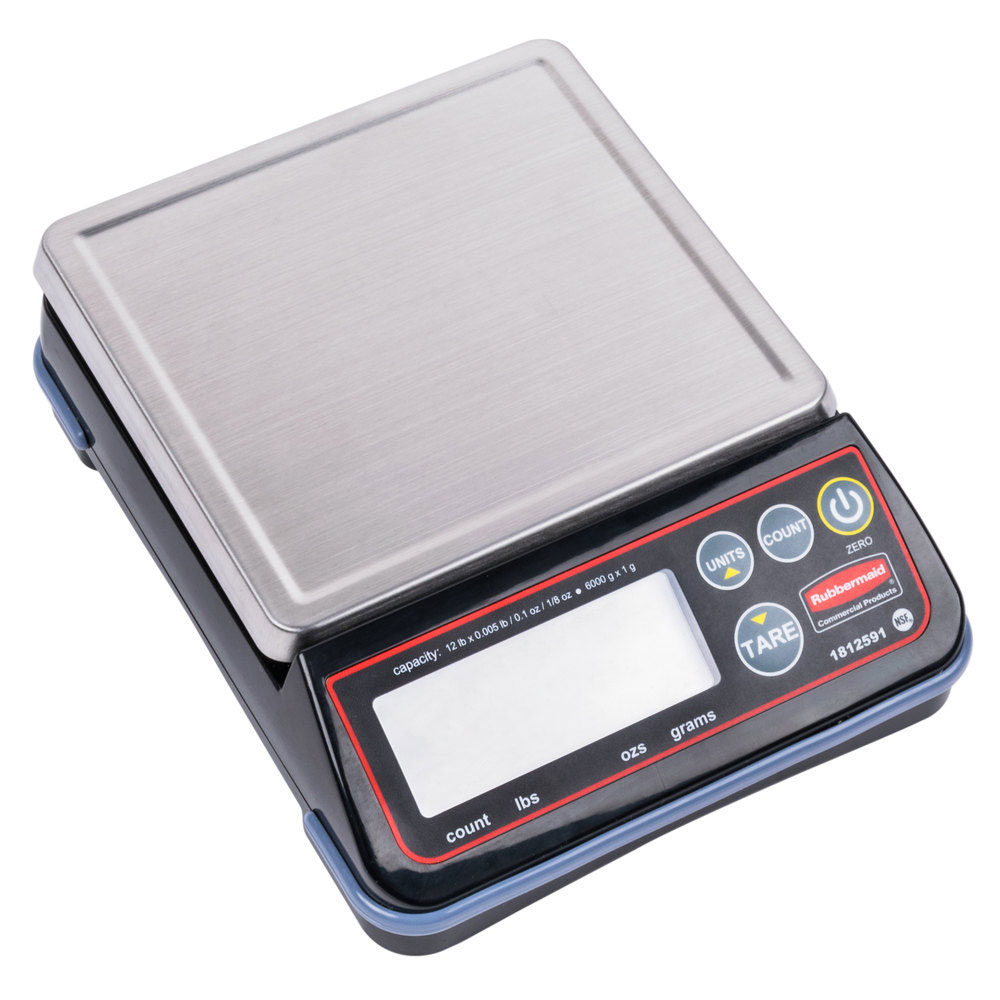 "Rubbermaid 1812591 12-lb Digital Portion Control Scale - 6.4"" x 5.8"", Stainless"