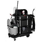 Rubbermaid 1861428 Compact Janitor Cart w/ Tub Top, Black