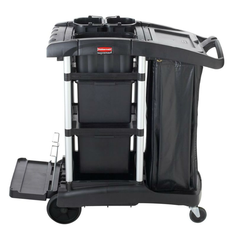 rubbermaid compact janitor cart w tub top black