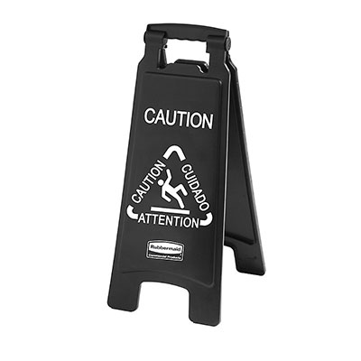 Rubbermaid 1867505 Executive Multi-Lingual Caution Sign - 2-Sided Black
