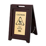 Rubbermaid 1867507 Executive Multi-Lingual Caution Sign - 2-Sided Wood/Gold