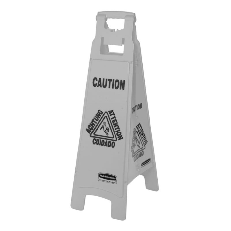 Rubbermaid 1867510 Executive Multi-Lingual Caution Sign - 4-Sided Gray