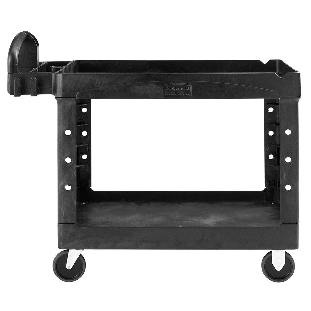 Rubbermaid 1867535 2-Level Polymer Utility Cart w/ 500-lb Capacity, Raised Ledges