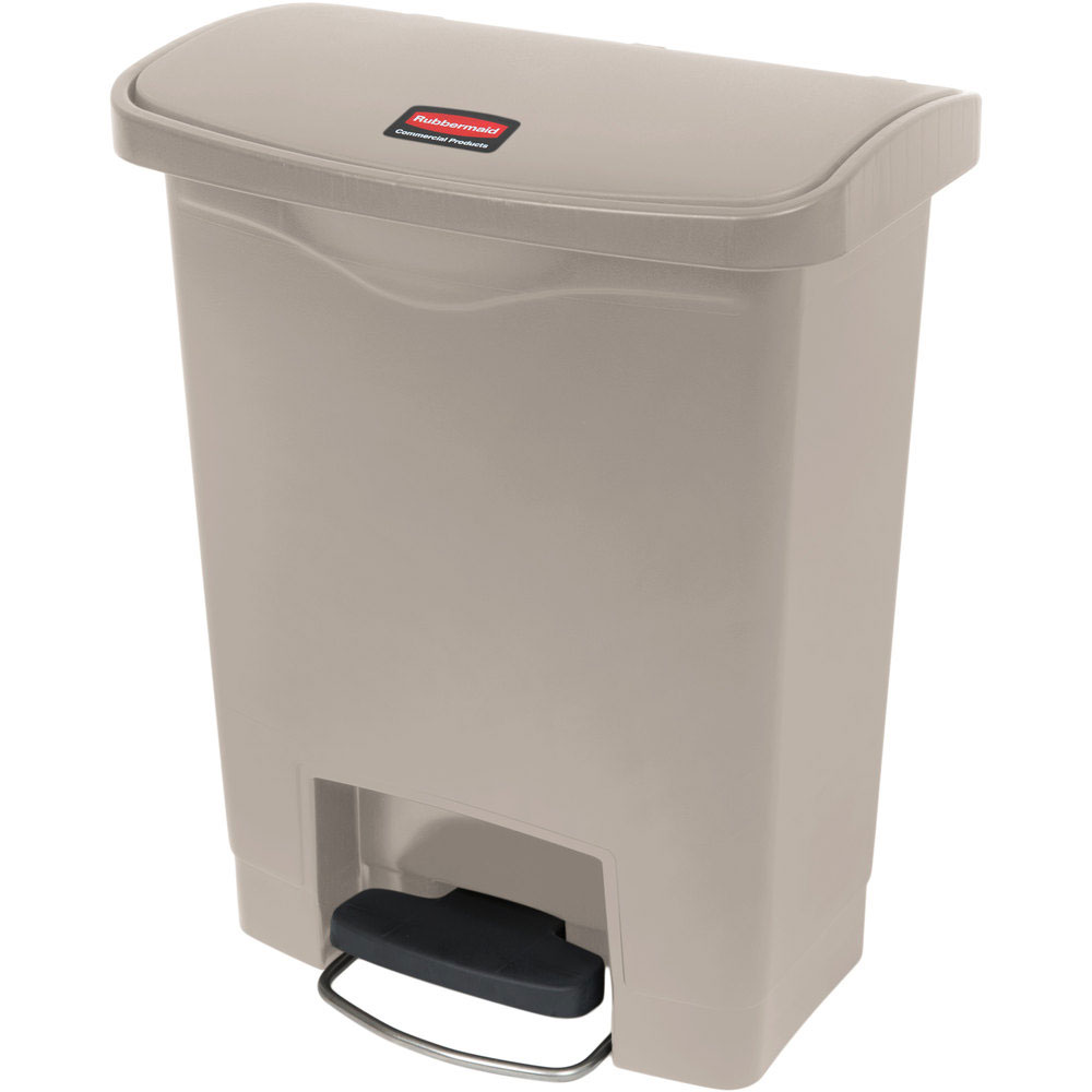 "Rubbermaid 1883456 8-gal Rectangle Plastic Step Trash Can, 16.73""L x 10.66""W x 21.11""H, Beige"