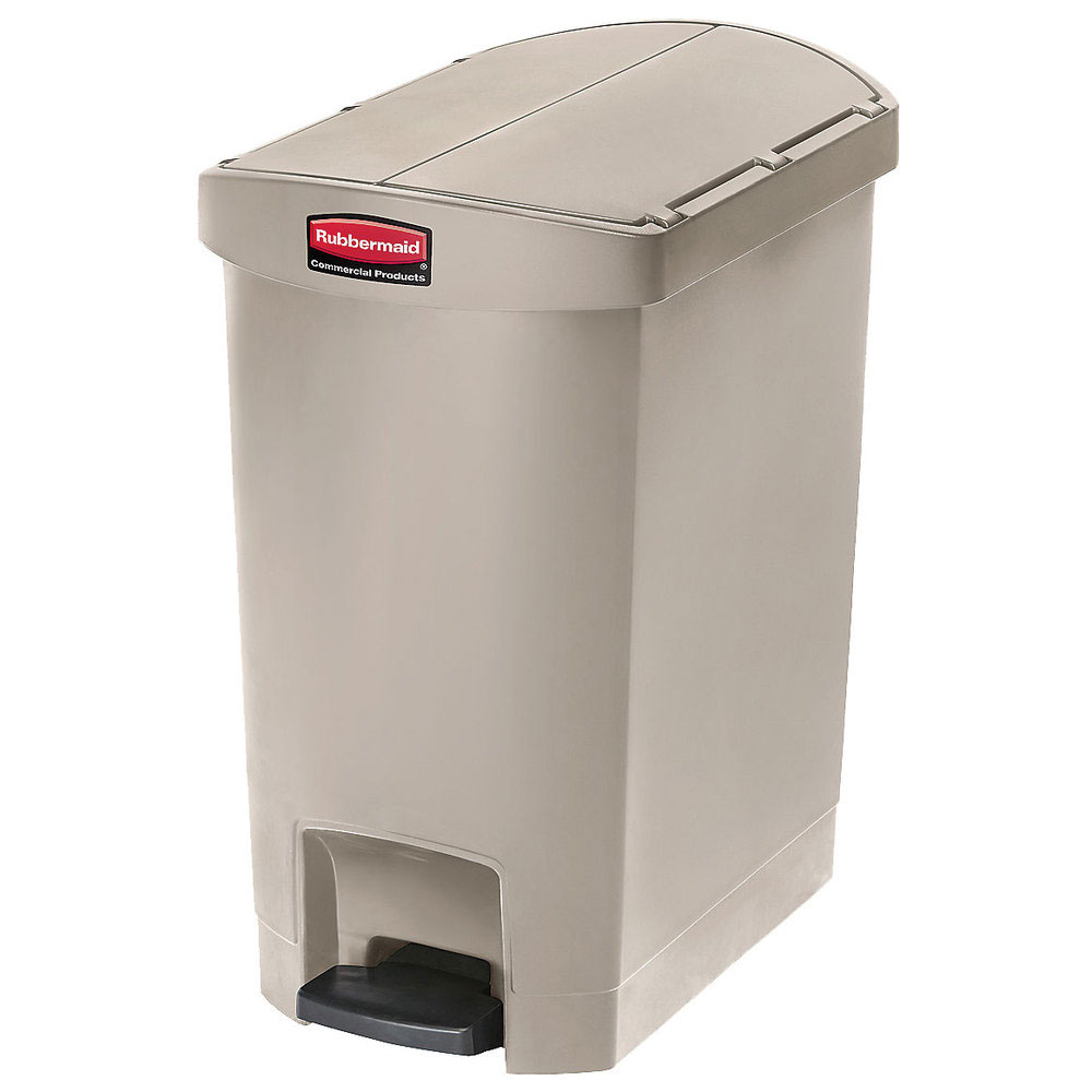 "Rubbermaid 1883457 8-gal Rectangle Plastic Step Trash Can, 19.55""L x 12.27""W x 22.27""H, Beige"