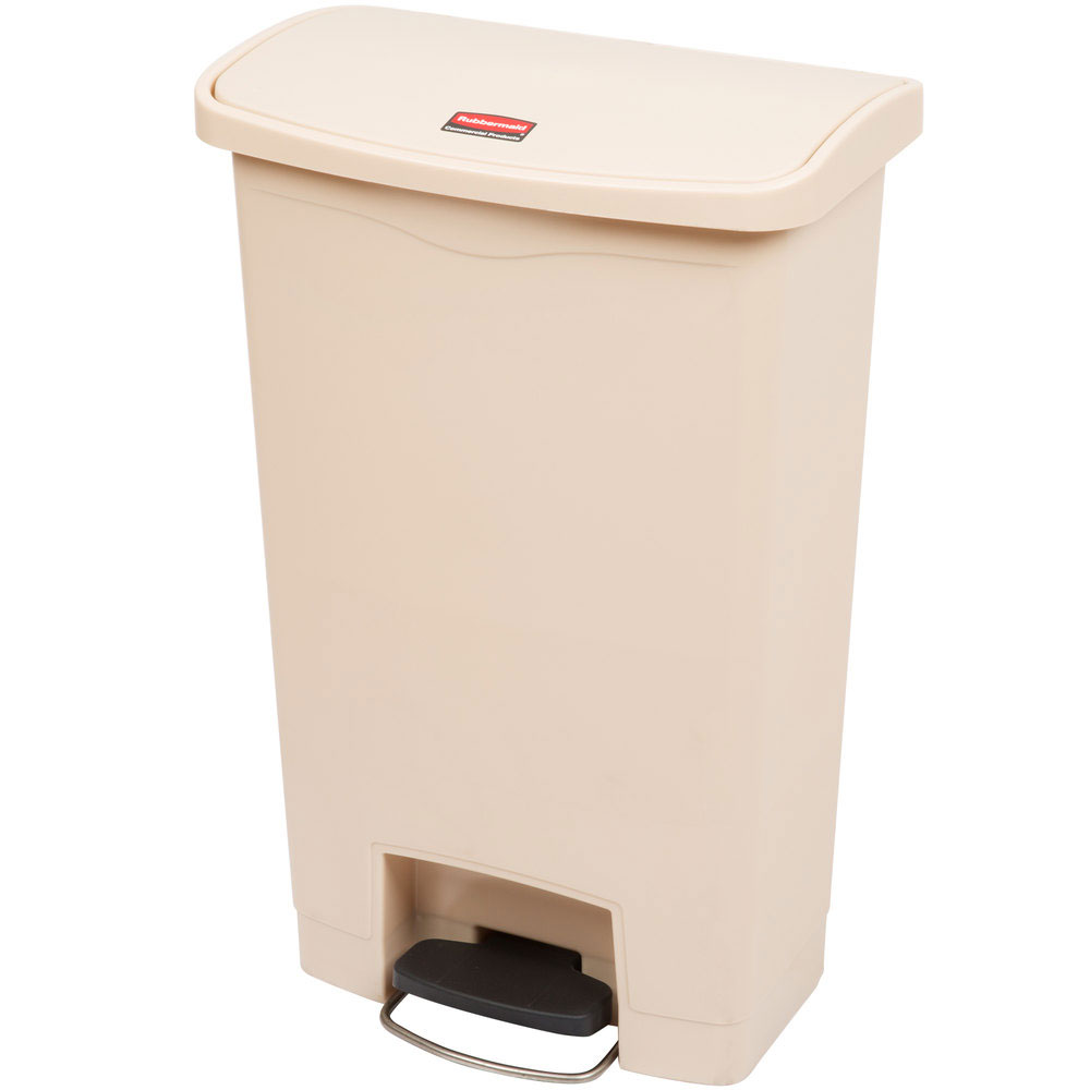 "Rubbermaid 1883458 13-gal Rectangle Plastic Step Trash Can, 17.97""L x 11.48""W x 28.3""H, Beige"