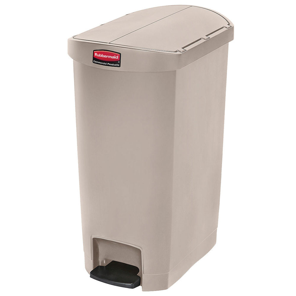 "Rubbermaid 1883551 18-gal Rectangle Plastic Step Trash Can, 22.11""L x 14.7""W x 30.77""H, Beige"