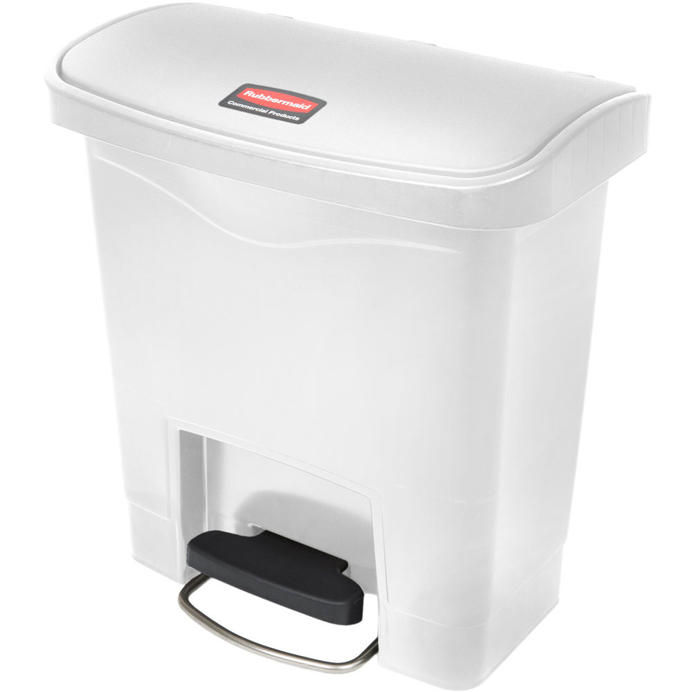 Rubbermaid 1883554 4-gal Slim Jim Step-On Utility Container w/ Hinged Lid - White