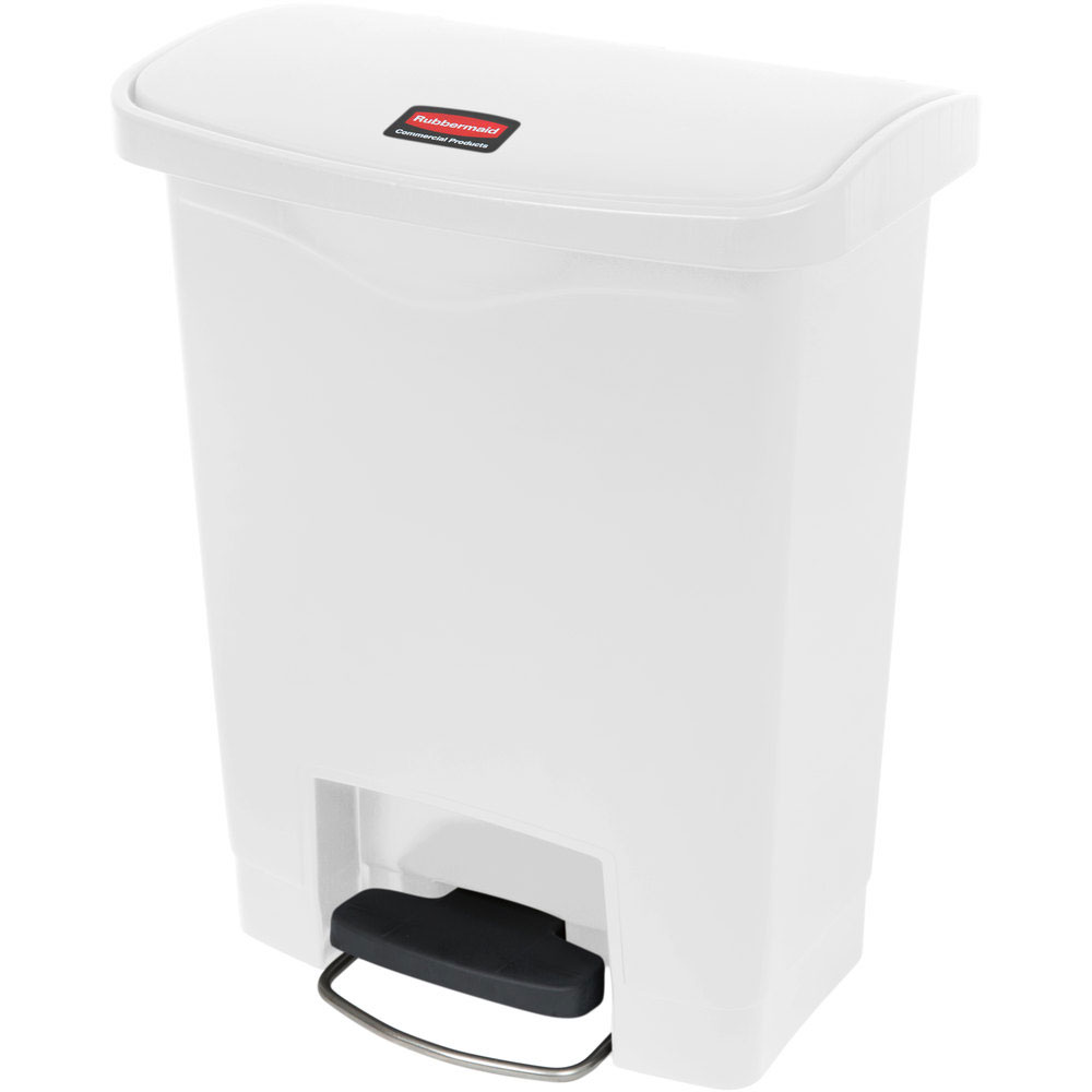 "Rubbermaid 1883555 8-gal Rectangle Plastic Step Trash Can, 16.73""L x 10.66""W x 21.11""H, White"